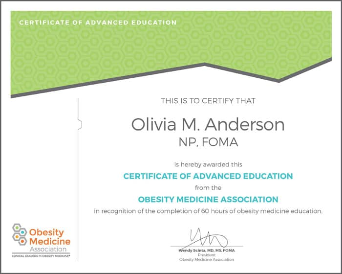 Sample of the NP and PA certificate in obesity medicine